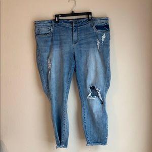 B|P light Wash Distressed Ankle Jeans *Plus Size*
